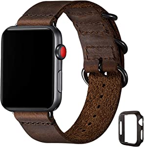 Vintage Leather Bands Compatible with Apple Watch Band 38mm 40mm 42mm 44mm,Genuine Leather Retro Strap Compatible for Men Women iWatch SE Series 6/5/4/3/2/1(Coffee+Black Connector, 38mm 40mm)