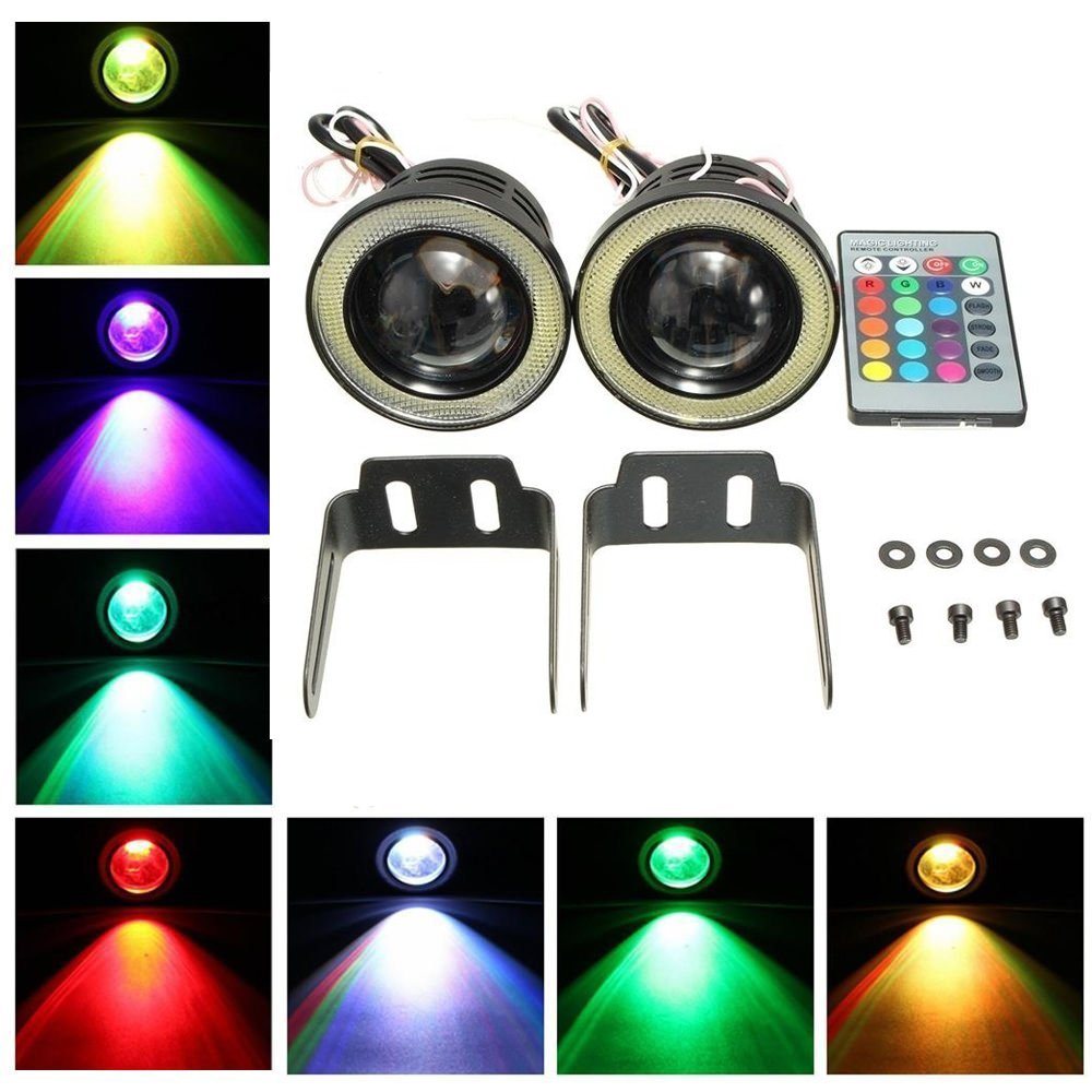 KaTur 2pcs High Power 3.5' Projector Universal RGB LED Fog Light White COB Halo Angel Eye Rings DRL Driving Bulbs