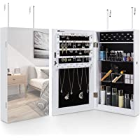 MYGZFF Tyg skåp hängande smycken skåp garderob med full längd spegel, lås smycken lagring skåp dörr installation och…