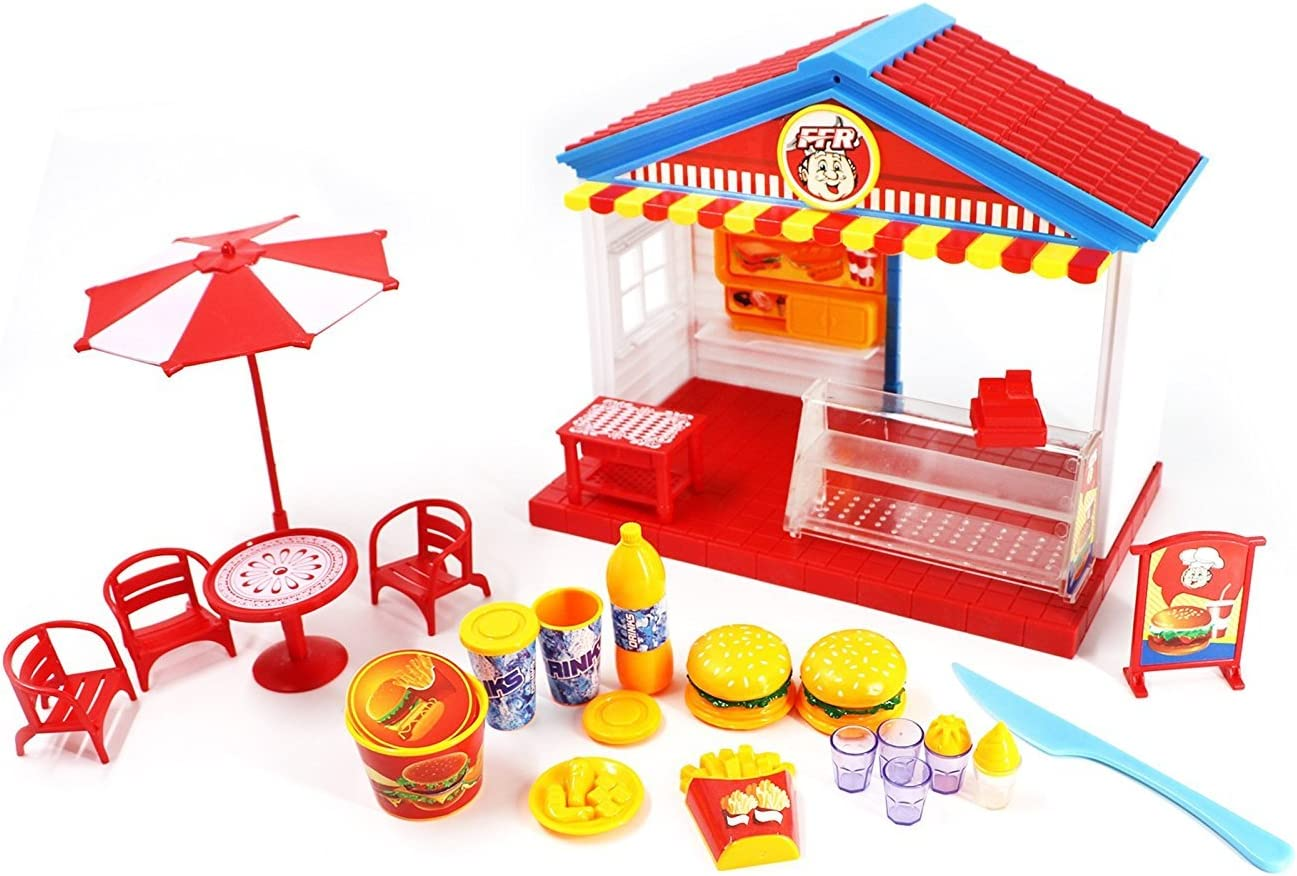 PlayMarket Play food Mini Fast Food Restaurant Pretend Play Toy Shop Set with Food Furniture & Music Lights Included, 23 Piece
