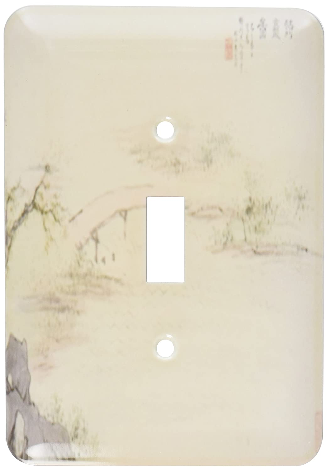 3dRose lsp/_180588/_1 Image of chinese bridge painting from 1700 in soft neutral hues Single Toggle Switch