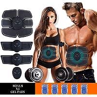 ATETION MASOMRUN Electrostimulateur Musculaire Entraînement Abdominal/Cuisse/Bras Muscle EMS Forme d'exercice Fitness,Ceinture Abdominale Electrostimulation et 10 Coussinets de Gel (MASOMRUN)