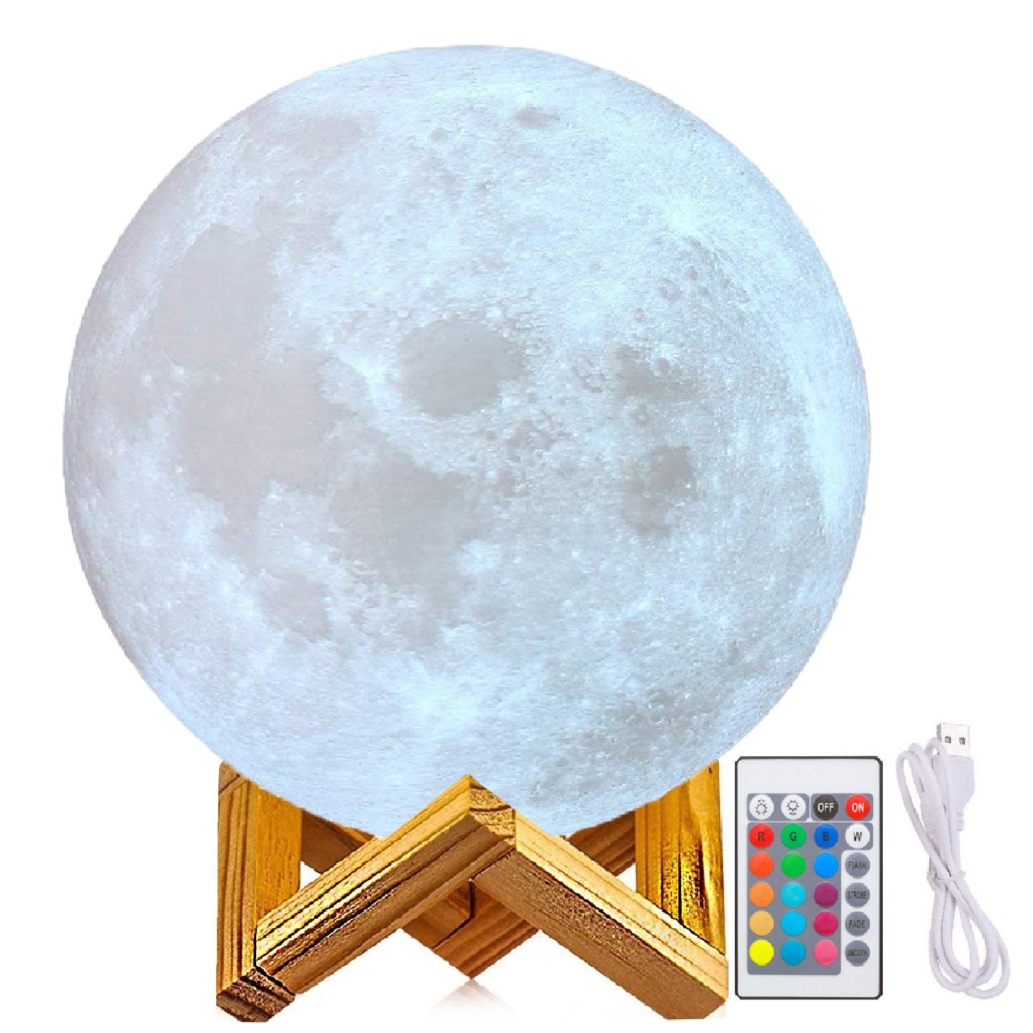 """7"""" Moon Lamp, Genuine Moon Light Lamps(6""""- 11"""")3D Printed Moon Light with Stand, The 3D Moon Lamp with LED 16 Colors, Touch Control and Remote Control(17.7CM) 7"""" Moon Lamp zhong guang mei da"""