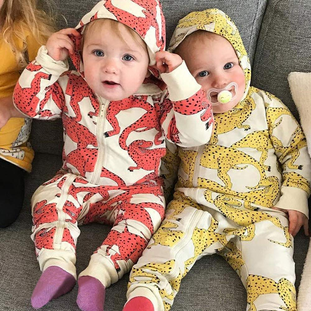 for Unisex Baby Toddler Boy Girl Dinosaur Print Zip Jumpsuit Coolbabe Hooded Romper Long Sleeve Playsuit