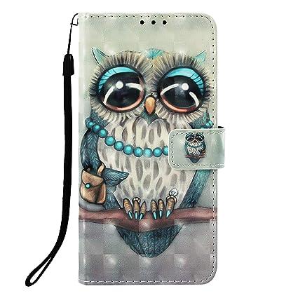 Abuenora Funda Libro para Xiaomi Mi A2 Lite Carcasa con Tapa Flip Case Antigolpes Golpes Cartera PU Cuero Suave - Dibujo Buho