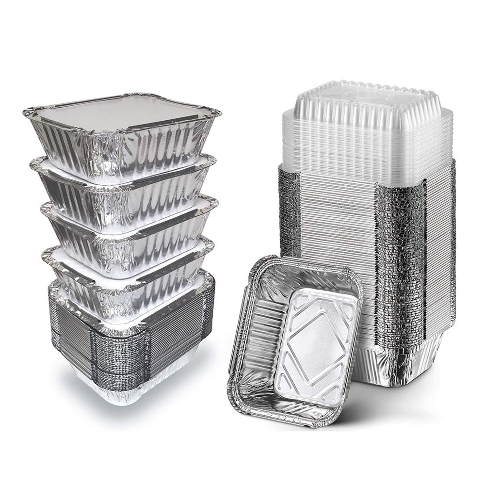 50 Pack Disposable Aluminum Foil Pans with Board Lids, 5.5