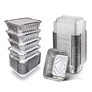 50 Pack Disposable Aluminum Foil Pans with Clear Plastic Lids, 5.5