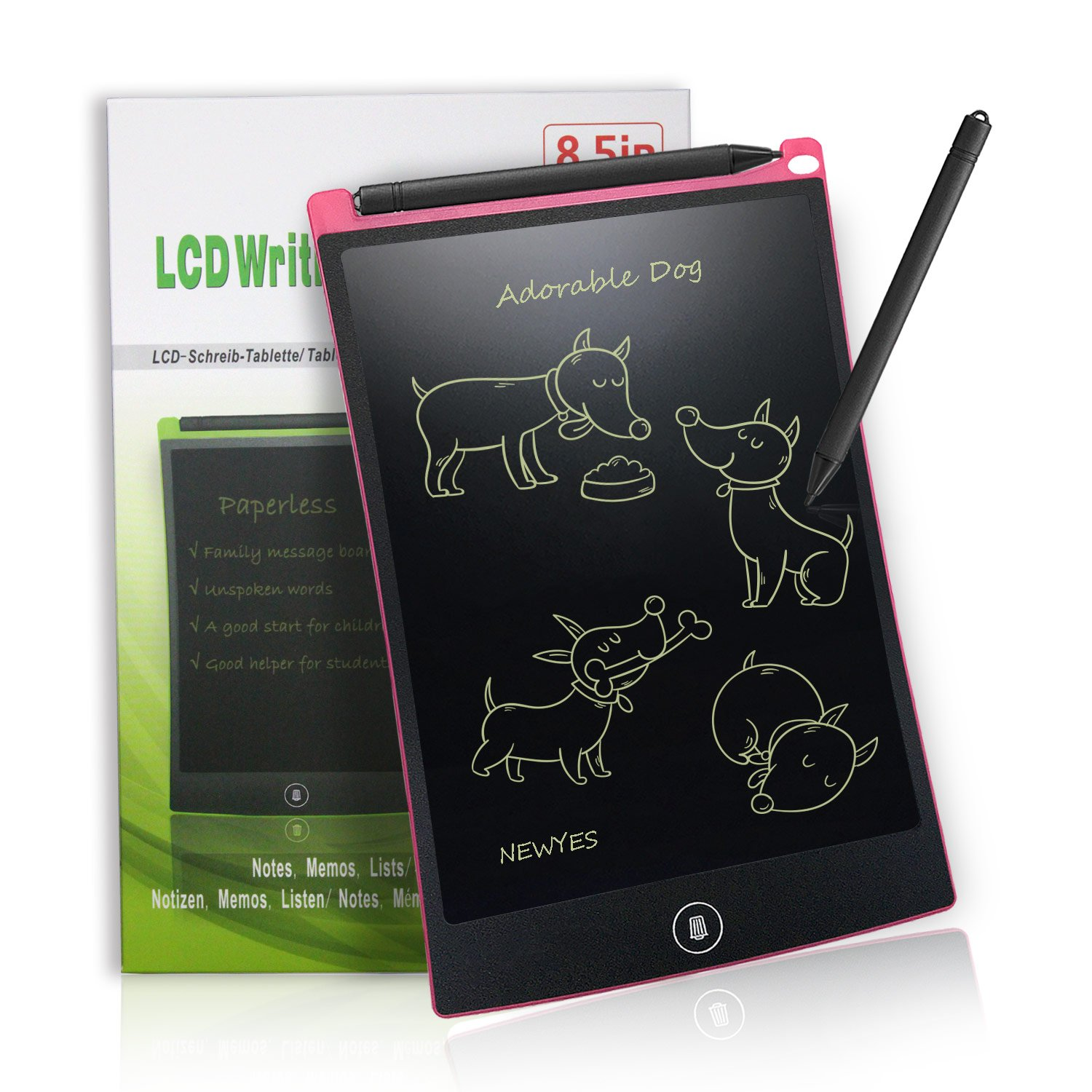 LCD Writing Tablet Digital Ewriter - NEWYES NYWT850-8.5 Inch Graphics Tablet Portable White Board Rugged Drawing Tablet Suitable for Home School Office Memo Notebook, 1 Year Warranty (pink)