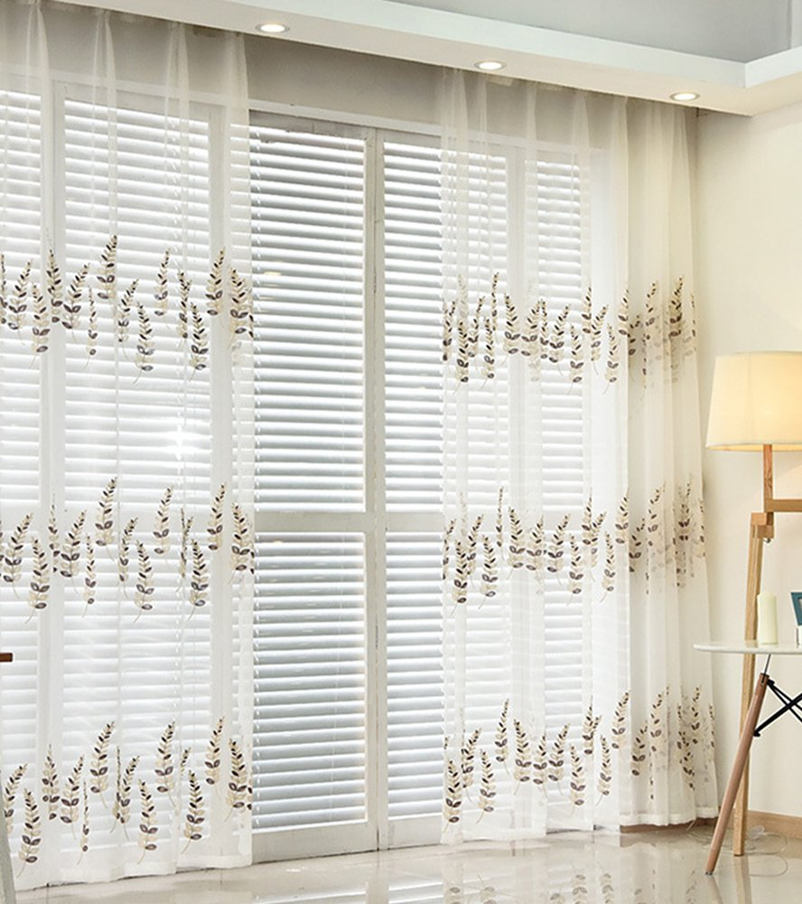 ASide BSide Embroidered Sheer Curtains Leaves Pattern Countryside Style Rod Pockets Voile Drapes Transparent Breathable for Living room Bedroom Kid's room (1 Panel, W52 x L104 inch, Blue) by ASide BSide (Image #1)