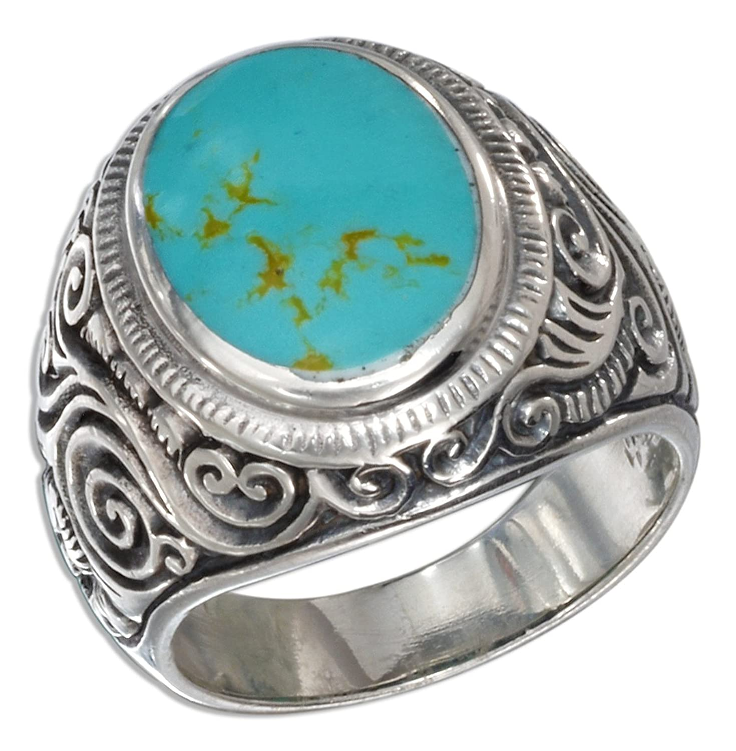 Sterling Silver Mens Scroll Design Oval Simulated Turquoise Ring ...