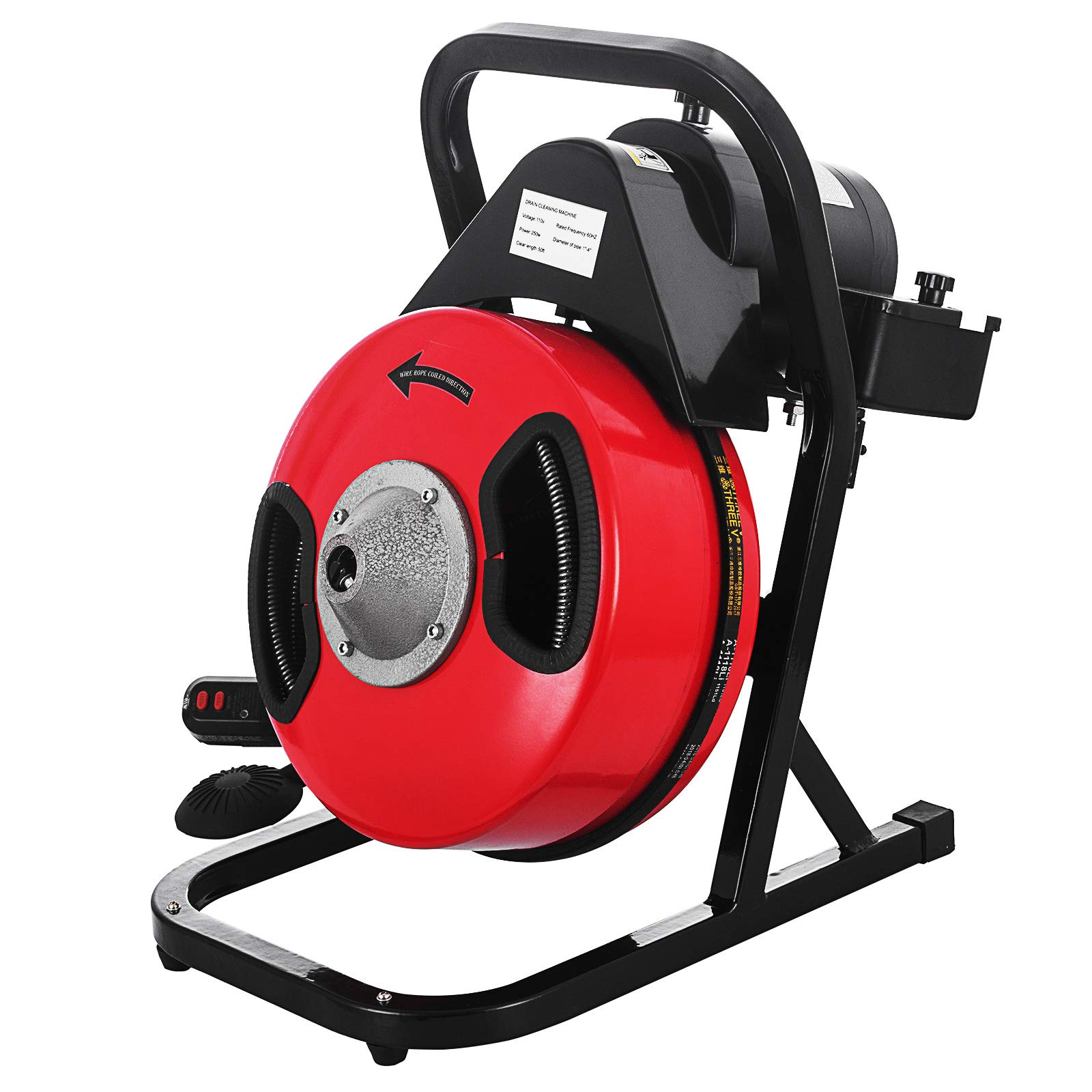SHZOND Drain Cleaning Machine 1/2 Inch x 50 Ft Drain Cleaner Machine with 4 Cutter and Foot Switch Electric Drain Pipe Cleaner for 1 to 4 Inch Pipes (50 FT) by SHZOND (Image #2)