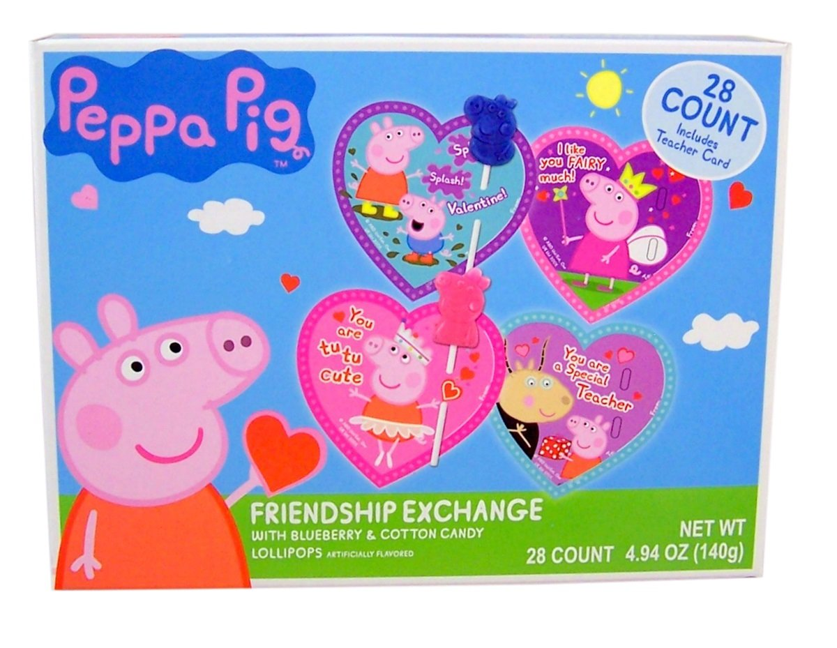 Peppa Pig Valentineu0027s Day Classroom Friendship Exchange With Lollipops, 28  Count