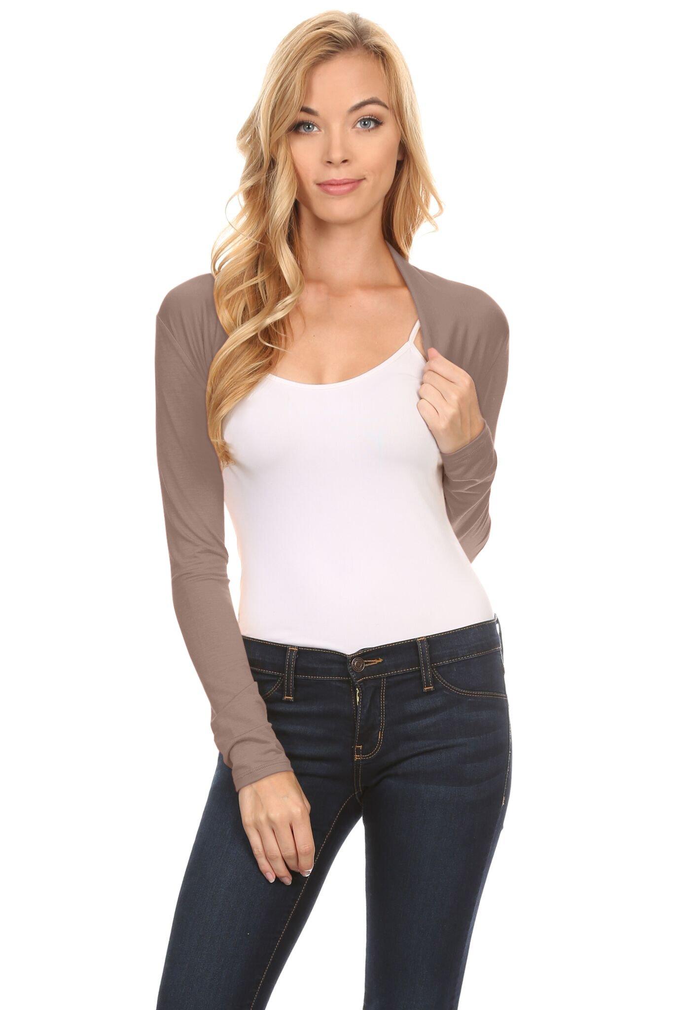 Simlu Long Sleeve Bolero Shrug for Women Reg and Plus Size- Made in USA (Size Medium, Mocha)