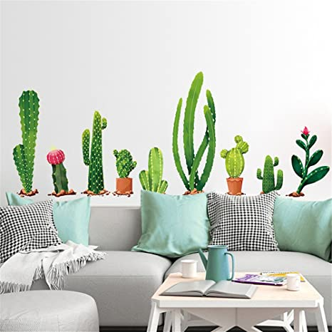DIY Cactus Decals Wall Stickers Living Room,Elevin(TM) Wall Decals Stickers Removable Waterproof Self Adhesive Paper Mural Wall Art Wallpaper Home ...
