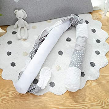 Grey White, 98 Inches Washable /& Removable Bumper for Bed Cradle Breathable Baby Long Bumper Snake Crib Protector Pillow Unisex Multipurpose Pads for Mother and Child