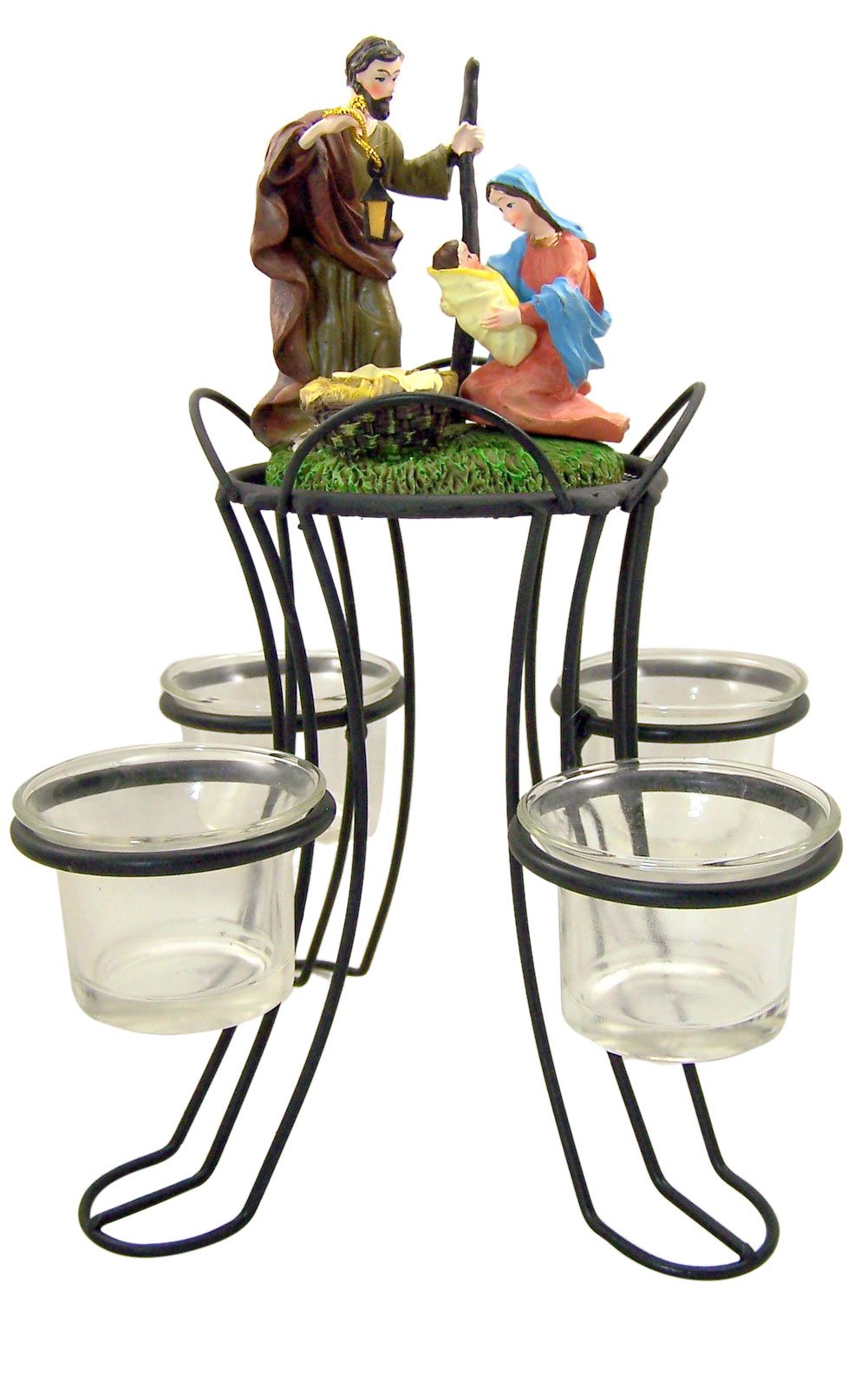 Holy Family Nativity of Christ Advent Wreath Votive Candle Holder Christmas Centerpiece Decoration