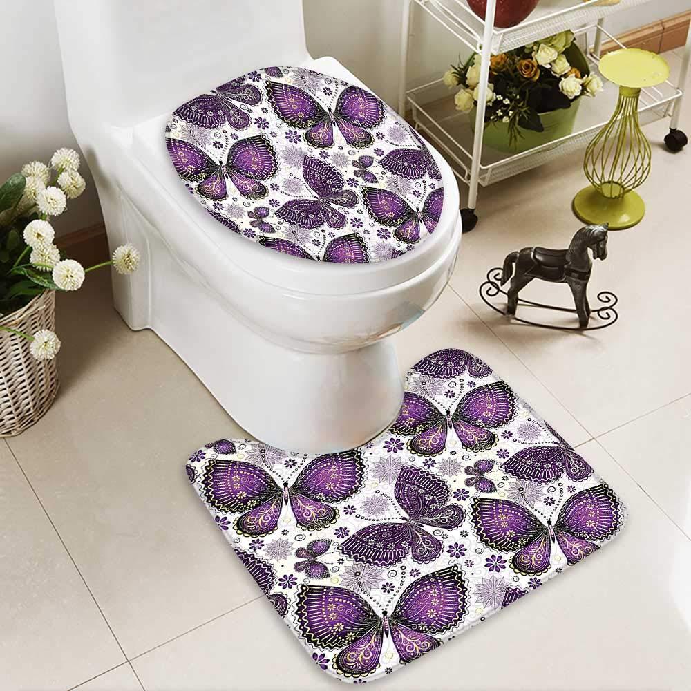 SOCOMIMI 2 Piece Bathroom Mat Set India Asian Butterflies Paisley Motif on Wings Flowers Art Plum Purple Lilac Soft Shaggy Non Slip