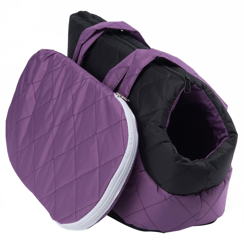 Pettom Cat Travel Bag- Soft Sided Pet Outdoor Purse Carrier Purple