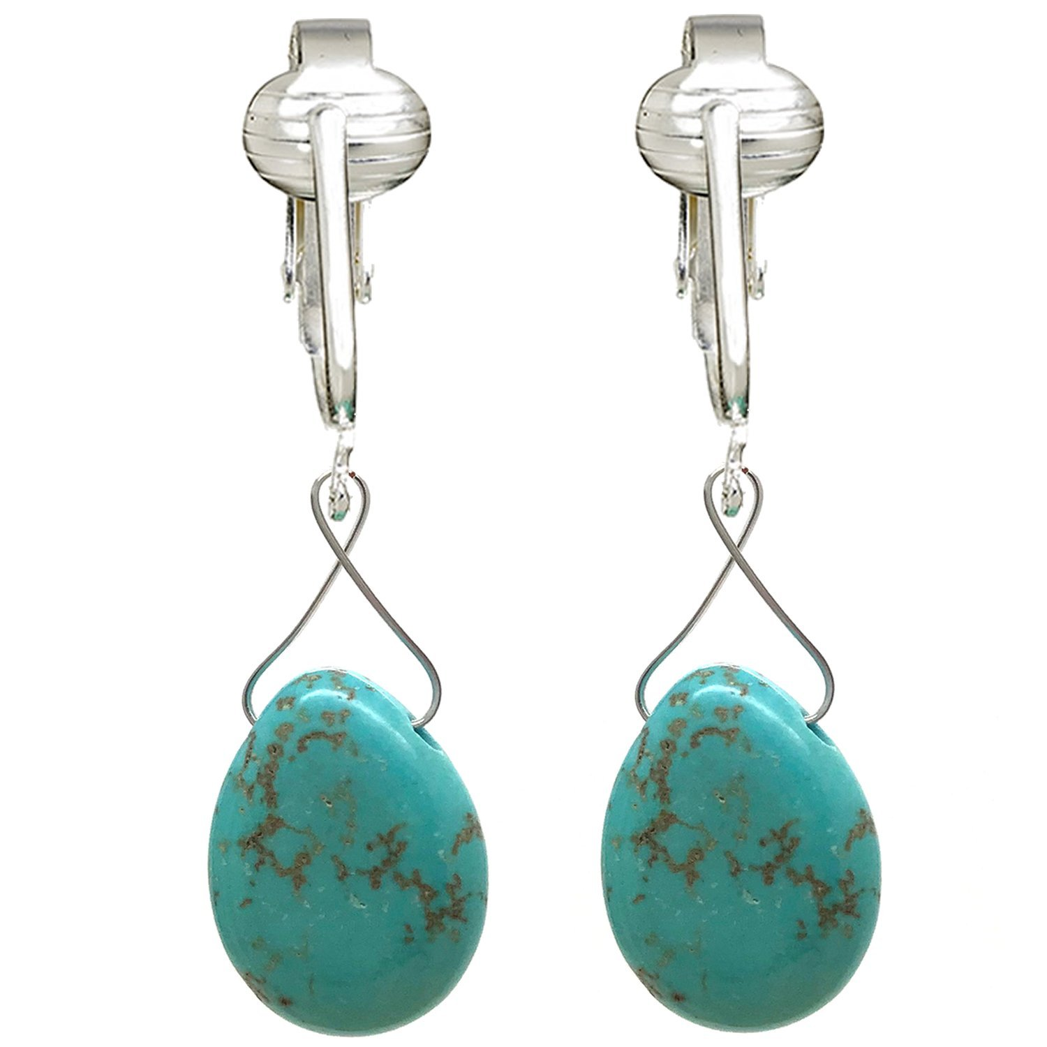 Trendy Turquoise Clip On Earrings for Women, Girls- Teardrop & Cube Clip-on Earrings w Pierced Look, Clip (Turquoise Briolette)