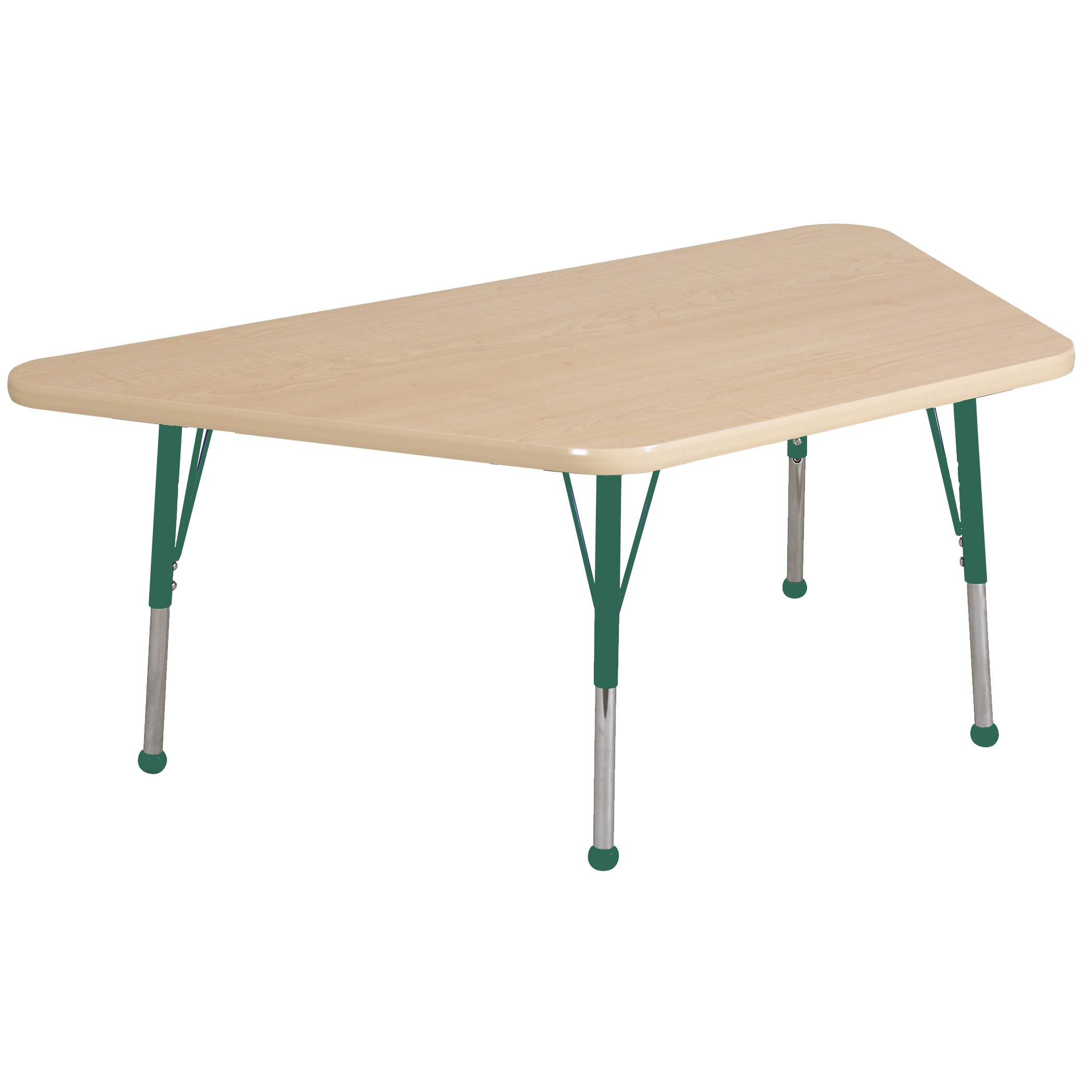 ECR4Kids Mesa Premium 30'' x 60'' Trapezoid School Activity Table, Toddler Legs w/Ball Glides, Adjustable Height 15-23 inch (Maple/Green)