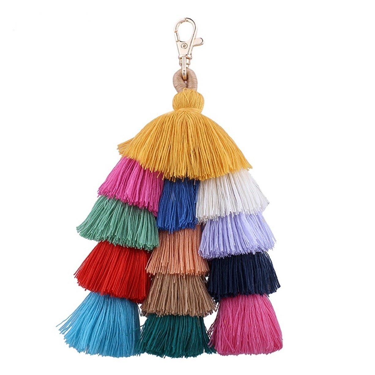 1 Pc Colorful Tassel Keychain Pendants Women Keys Strap Ball Puff Key Necklace Luxurious Popular Pocket Teenagers Bag Car Keyrings