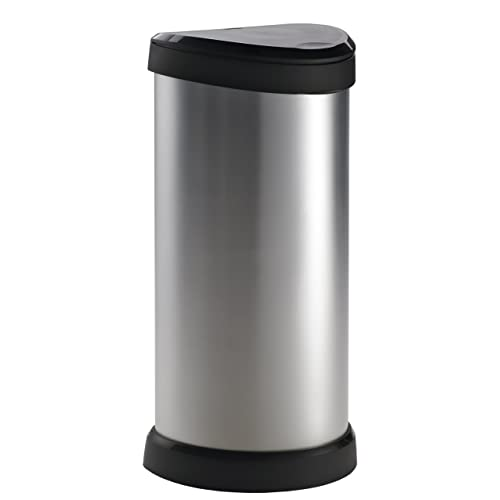 Curver 177729 Metal Effect One Touch Deco Bin, 40 L - Silver