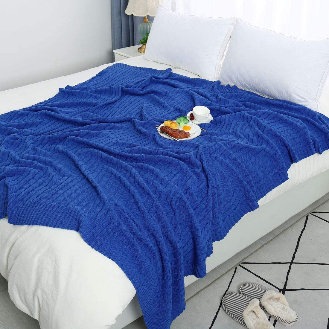 Sourcingmap azul muy suave cama Throw Manta de punto de algod/ón 47 x 70 para sof/á