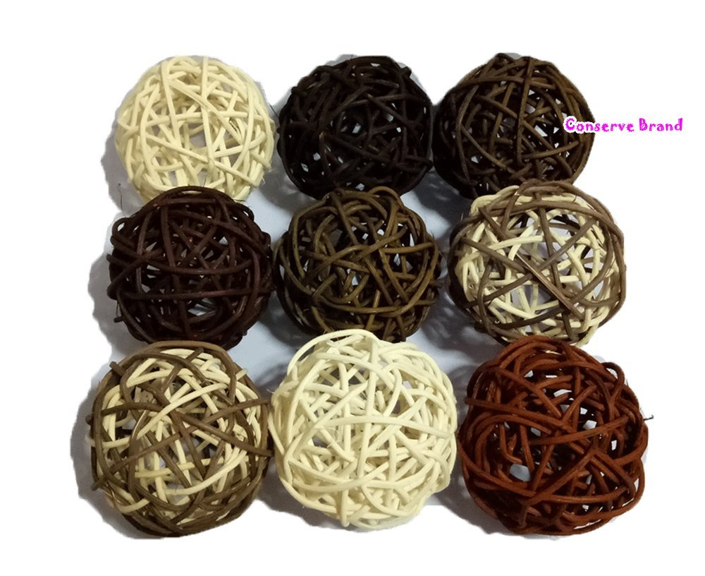 Thailand's Gifts : Natural Medium Wicker Balls With Two Tone Color Brown And White For DIY Vase And Bowl Filler Ornament, Decorative Spheres Balls, Perfect For Decoration And Party 3 - 3.5 inch, 9 Pcs Conserve Factory Boll 41