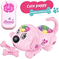 KIDDALE Remote Controlled(RC) Dog Toy, Eco-Friendly, Good Quality Plastic, Musical, Crawl, Roll Over, Sing with Light – Fun Musical Toy for Kids(10 Month to 3 Years), Toddler and Babies-Pink