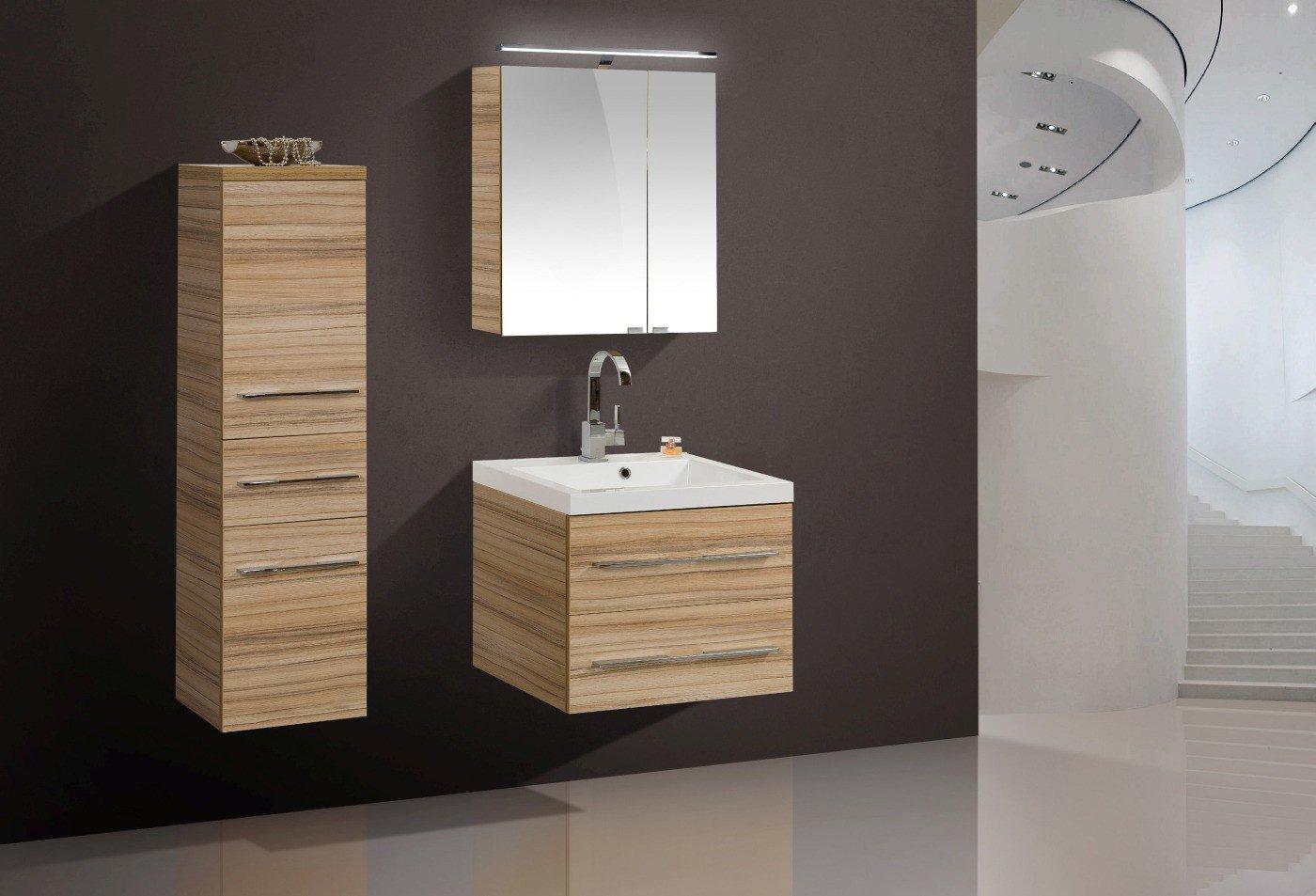 Badmöbel Set mit Waschtisch 60 cm und Spiegelschrank