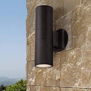 Ellis Modern Sconce Outdoor Wall Light Fixture Black Aluminum 11 3/4