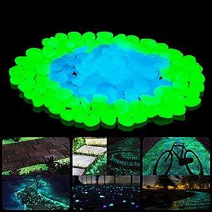 SUNNEST Glow in The Dark Garden Rocks, Decor Pebbles Stones for Indoor and Outdoor, DIY Decorative Luminous Stones for Yards Lawns Walkways Garden Driveway Plants and Aquarium