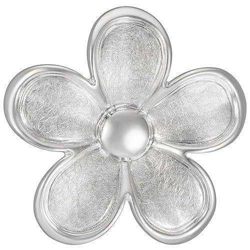 Vinani Damen-Anhänger Blume gebürstet Rand glänzend Sterling Silber 925 Blüte ABTA-EZ