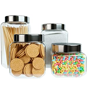 Home Intuition Square Glass Canister Set with Stainless Steel Lid, 4 Pieces