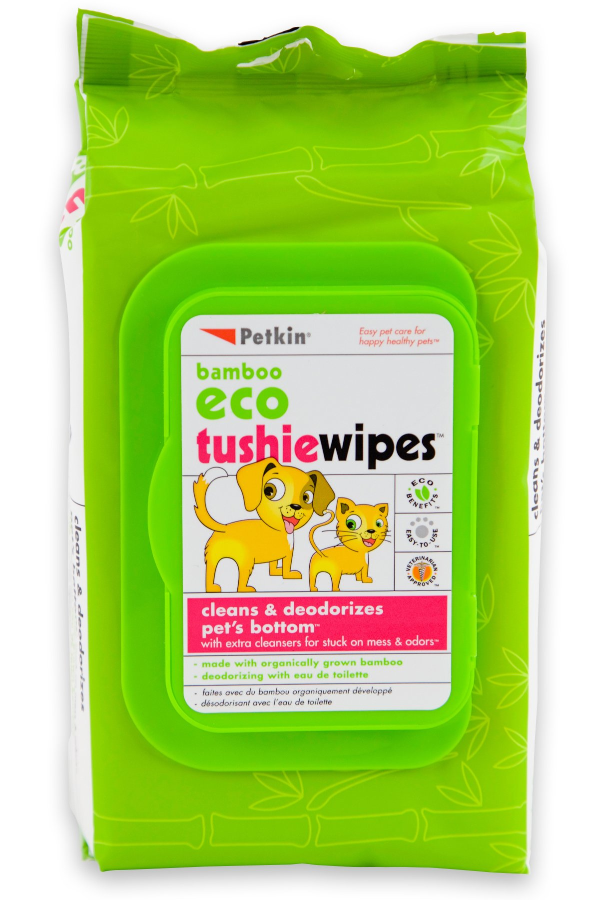 Petkin Bamboo Eco Tushiewipes, 80 Count