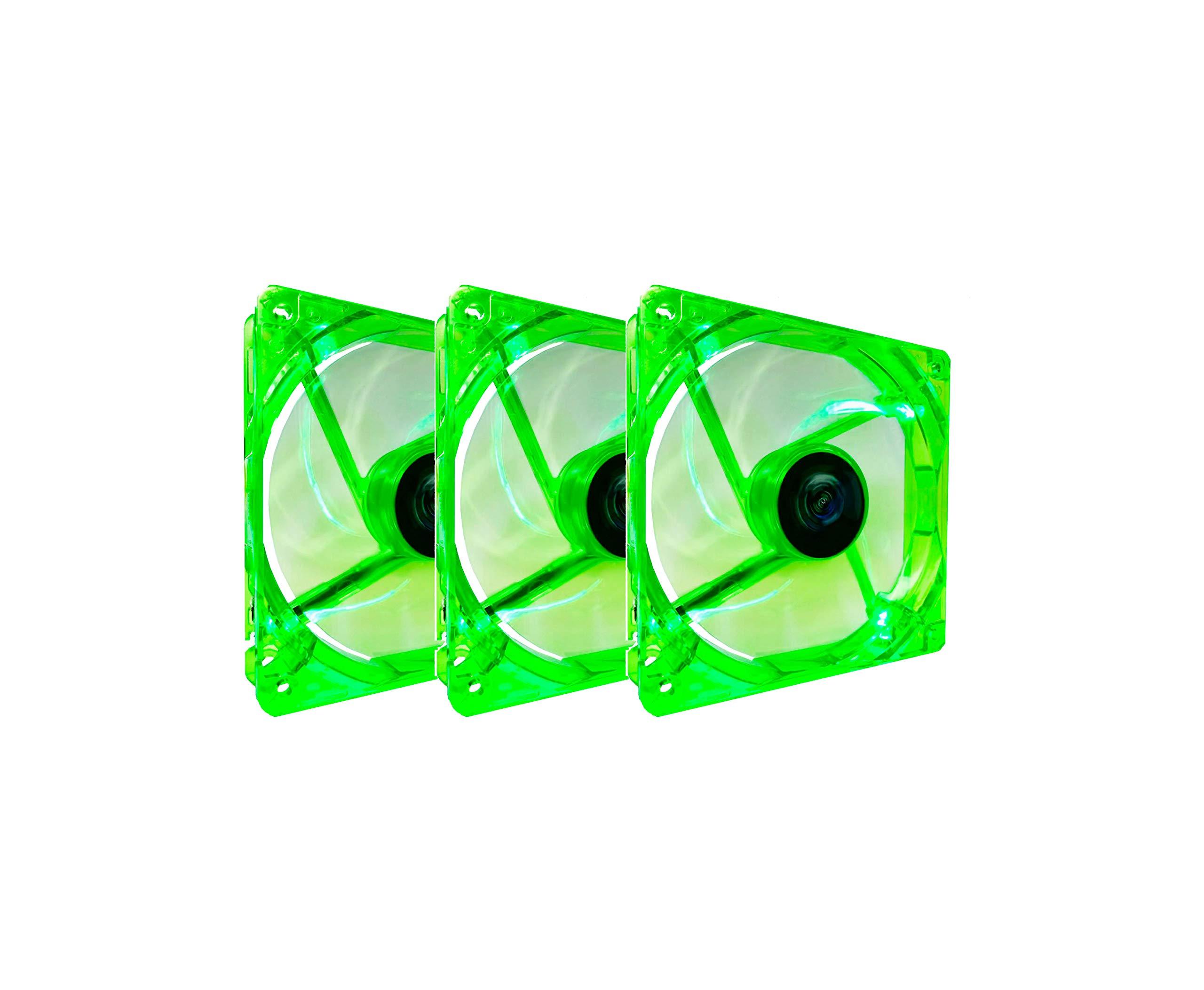 Apevia CF312SL-UGN 120mm 3 & 4pin Quiet Green LED Case Fan (3-pk)
