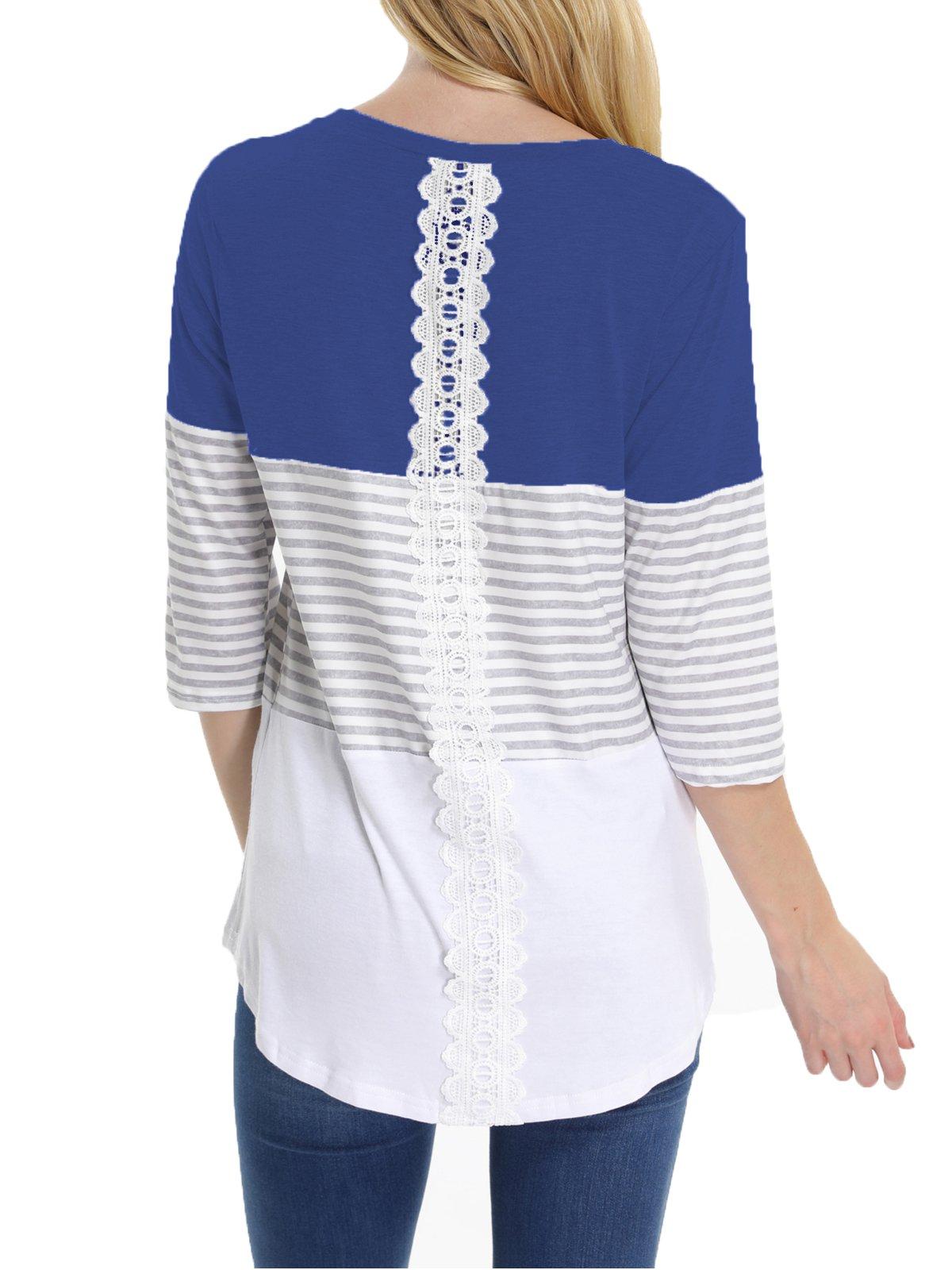 Vyncss Women's Three Quarter Sleeve Casual Tunic Tops Crew Neck Triple Color Block Stripe Blouse T-Shirt with Curved Hem (Dark Blue, Medium)