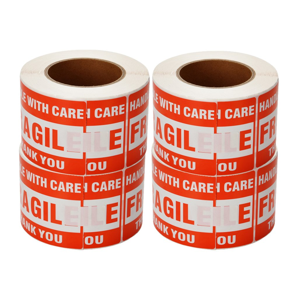 SJPACK 4 Rolls 3'' x 5'' Fragile - Handle with Care - Thank You Shipping Labels Stickers (500 Labels/Roll) by SJPACK