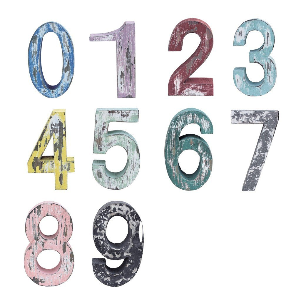Time Concept Handmade Rustic Seaside Weathered Number Set