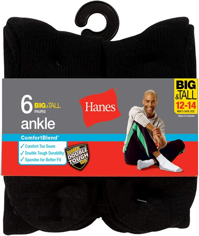Hanes Mens ComfortBlend Ankle Socks