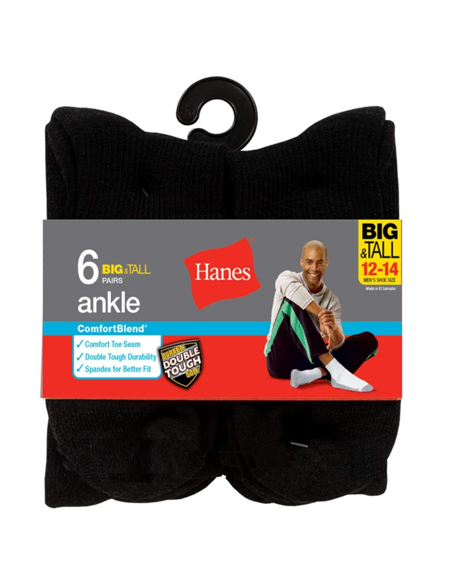 Hanes Men's ComfortBlend Max Cushion Crew Socks (Black, Shoe: 12-14 / Sock: 13-15  Big & Tall)