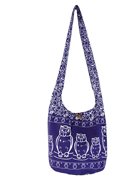 b35361df627e Amazon.com: Fully Lined Owl Hobo Crossbody Bag Hippie Shoulder Thai ...