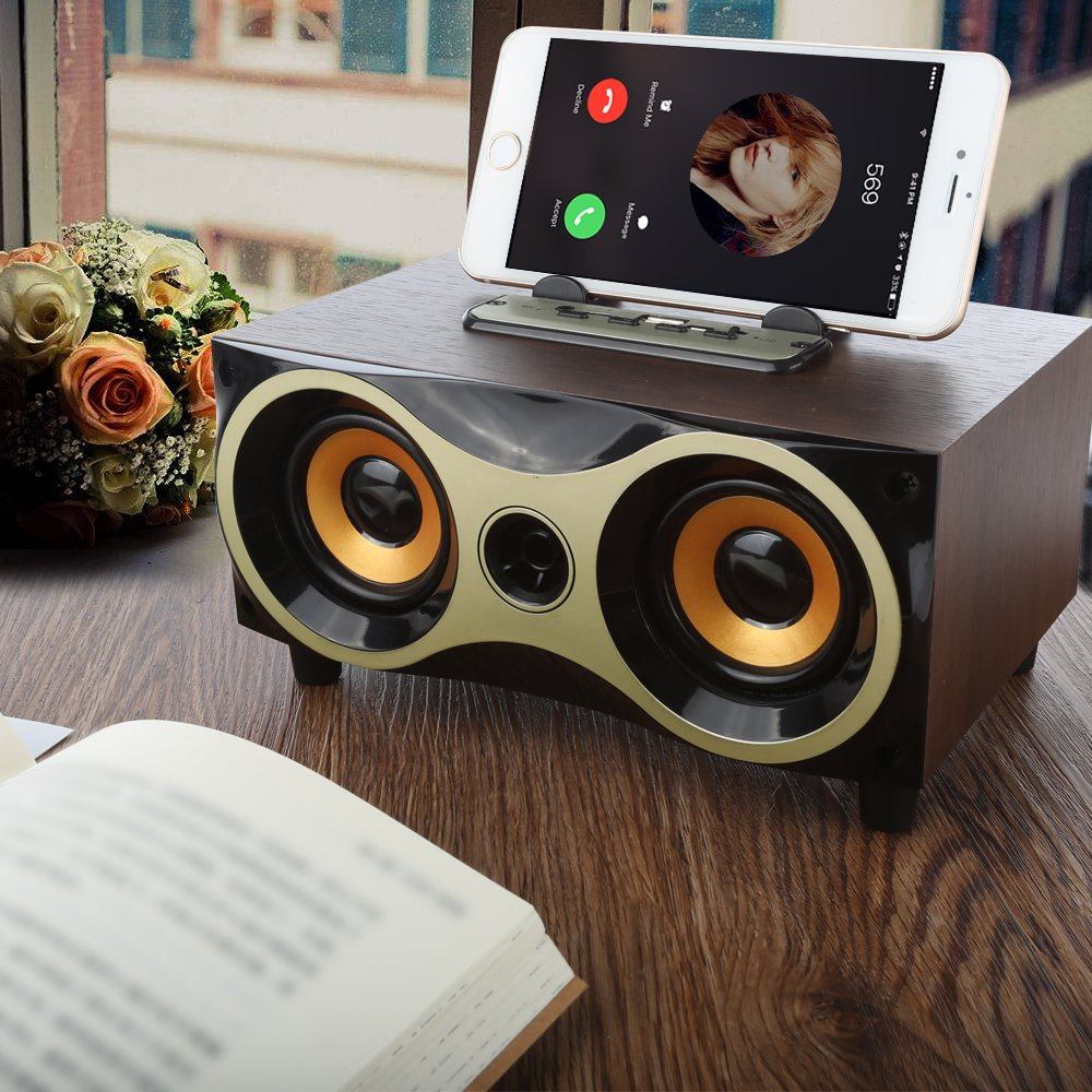 Desktop Portable Wooden Wireless Speaker Subwoofer Stero Bluetooth Speakers Support TF MP3 Player with FM Radio, Phone Holder for iPhone Android by Sysmarts (Image #6)