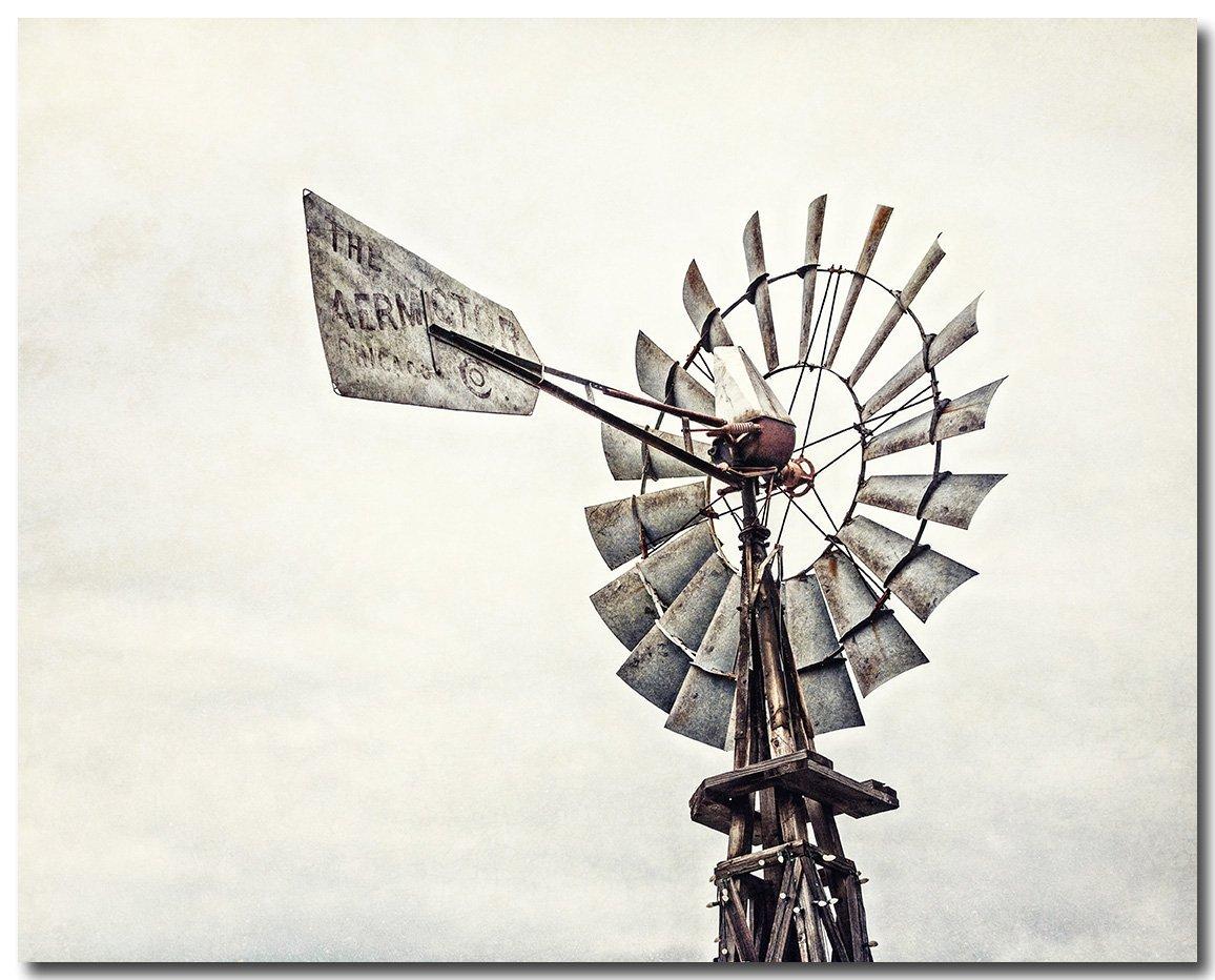 Rustic Farmhouse Wall Decor 8x10 Print 'Aermotor Windmill' Country Home Decor Photo in Neutral Grey Beige Brown.