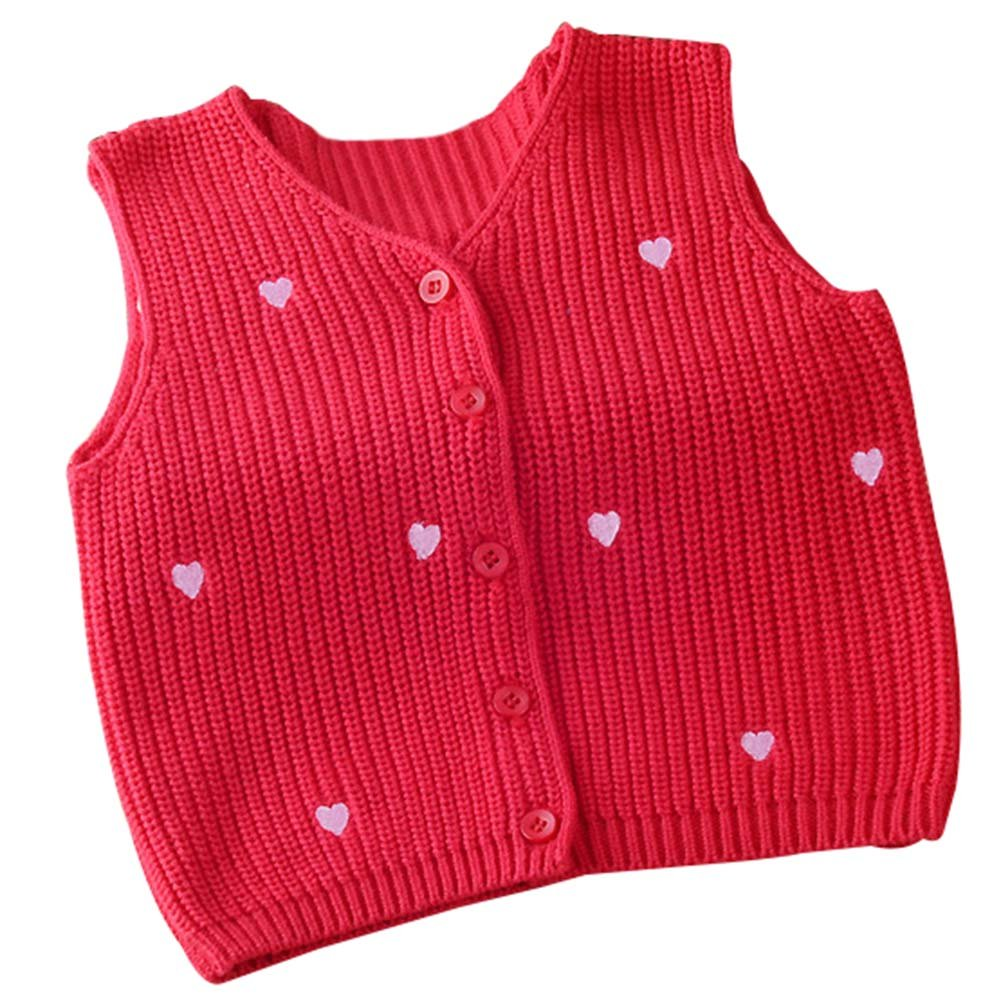 Taiycyxgan Unisex Baby Girls Boys Knit Cardigan Vest Toddlers Winter Sweater Vest Heart Print