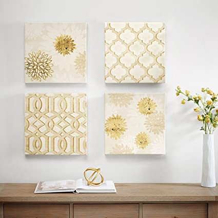 Gilded Grandeur Abstract Floral Canvas Wall Art 15X15 4 Piece Multi Panel,  Grey White Modern