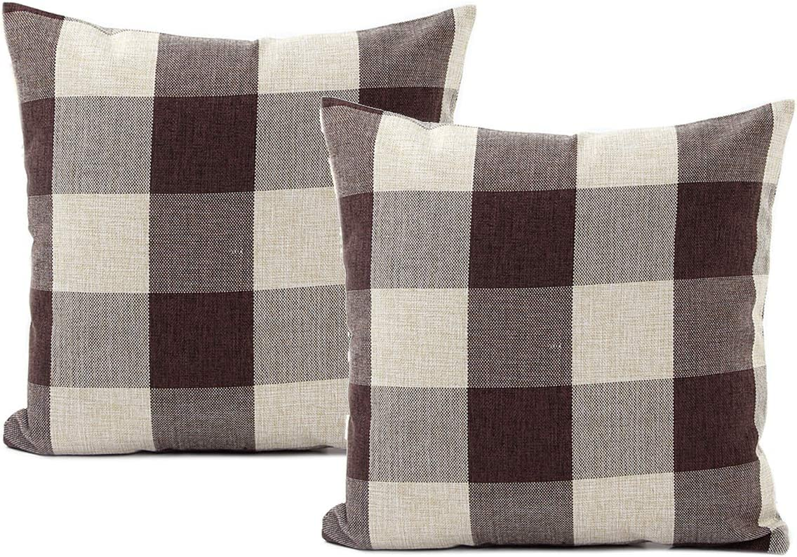 Jiuhong Cotton Linen Throw Pillow Covers Farmhouse Decor Checkers Plaids Square Cushion Case Home Decorative for Sofa Bedroom Car, 2 Pack (Brown, 18 x 18 Inch)