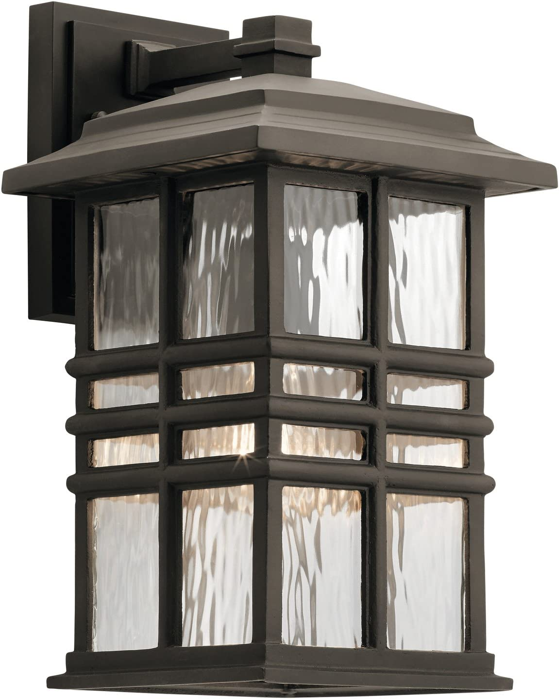 Kichler 49830OZ Beacon Square Outdoor Wall Sconce, 1 Light Incandescent 100 Watts, Olde Bronze
