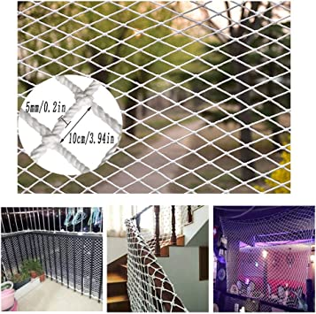 Malla de Seguiridad para Protección a Niños Balcón Infantil Red de Seguridad Escalera de Protección Red Interior Y Exterior Red de Barandilla Red de Nylon Blanco Red Anti-gato Trepador Decoración de P: