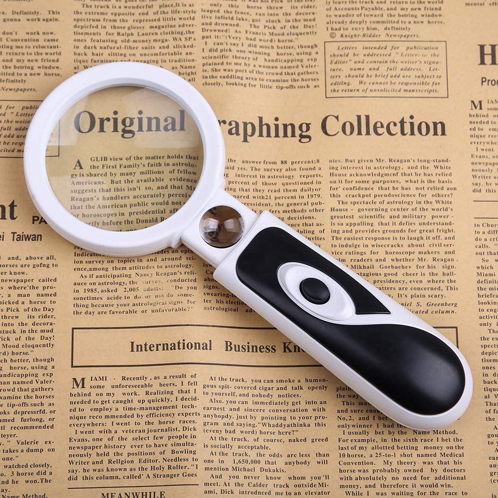 Repair Needlework Hobbies /& Crafts Jewelry Reading BIJIA Handheld Magnifier- 4x//20x Double Lens Magnifying Glass with 2LED Light 2.5 Inch Large Magnifying Glass for Seniors Maps